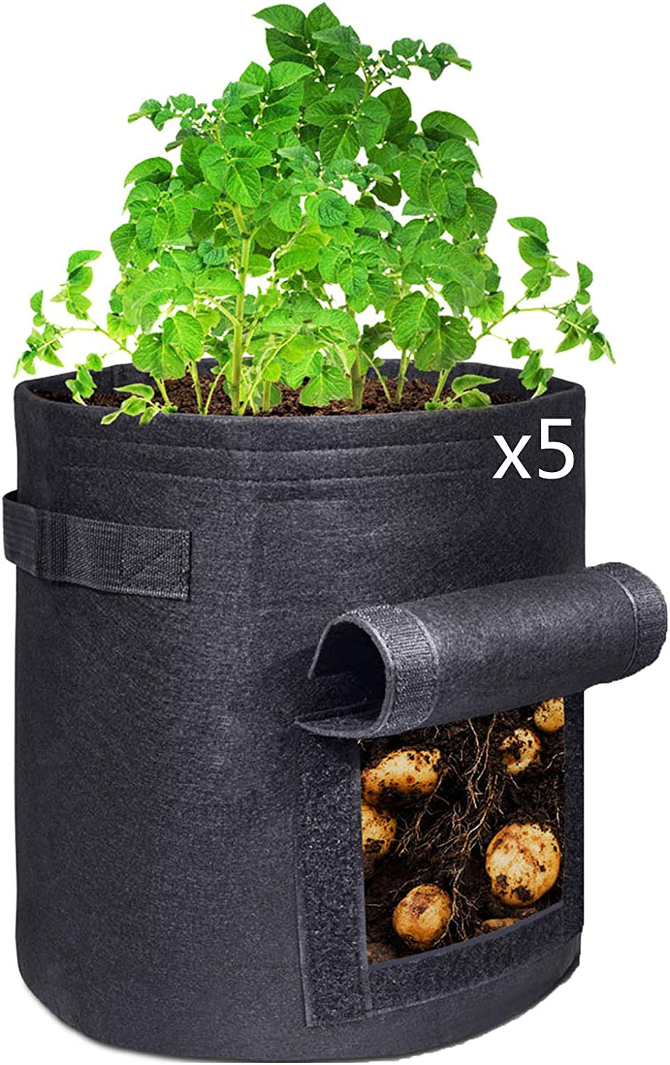 SimpleLand 5-Pack 4 Gallon Grow Bags, Heavy Duty 400GSM Thickened Grow Bags, Non-Woven Fabric Pots with Handles and Window, Felt Pots for Plants Gardening Vegetable Container for Home