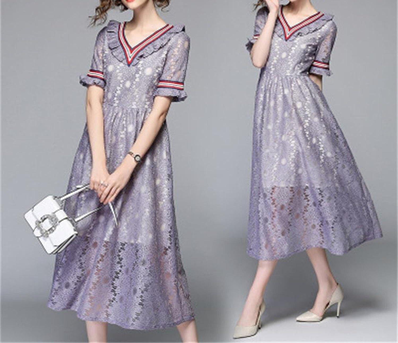 Lovely-Shop dresses Fashion V-Neck Large Swing Lace Ear Hollow Striped Maxi Dress Elegant Long Dress,Lavender,XL
