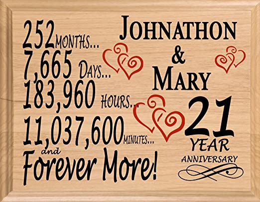 Amazon Com Broad Bay 21 Year Personalized 21st Anniversary Wedding Gift For Wife Husband Couple Him Her Home Kitchen