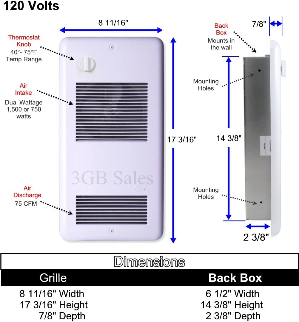 Bathroom Electric Wall Heater /& Thermometer Bundle Heats up to 150 sqft ultra-quiet Safe reliable 120 volts puts out 1500 watts energy efficient heater with a built-in thermostat