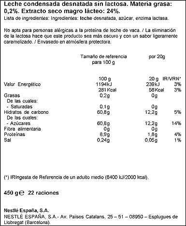 Nestlé La Lechera Leche condensada desnatada sin lactosa - Botella ...