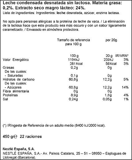 Nestlé La Lechera Leche Condensada desnatada sin Lactosa ...