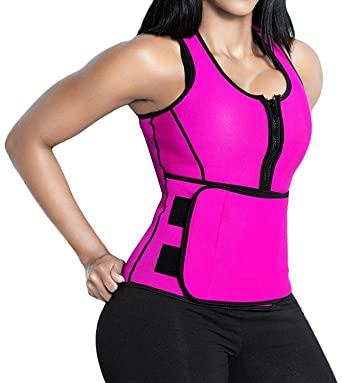 d2e311eaf4d Amazon.com  Neoprene Waist Trainer Corset Trimmer Sauna Suit Tank Top Vest  with Adjustable Waist Trimmer Belt  Clothing