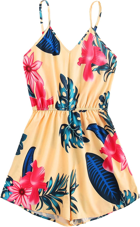 WDIRARA Womens Casual Floral Print V Neck Spaghetti Strap Cami Romper Bodysuit