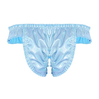 21a21ad40 Amazon.com  YiZYiF Men s Shiny Bowknot Ruffled Sissy Panties Crotchless  Crossdress Underpants  Clothing