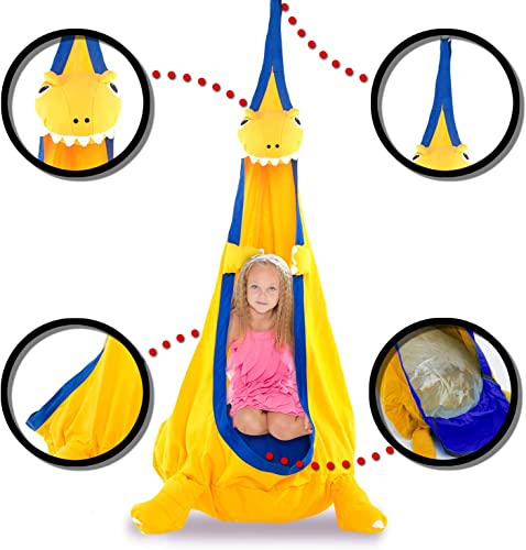 Papa Roo Dinosaur Child Hammock Pod Swing Chair Nook Animal Tent, 100 Cotton – Kids Outdoor Swing Cloth Hanging Seat – Hammock Nest Outdoor and Indoor Swing Chair Dinosaur, Yellow