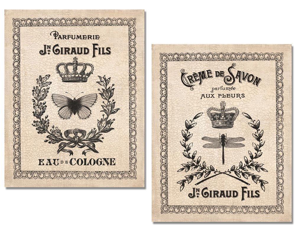 amazon com 2 hotel bathroom vintage french perfume art prints