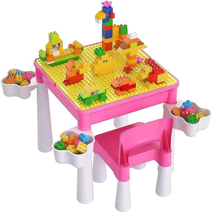 burgkidz Juego de Mesa y Silla para Niños Pequeños, Mesa de Actividades de Plástico Rosa con Placa Base de Construcción de Bloques y Juguetes de Creativos Grandes Clásicos de 128 Piezas para