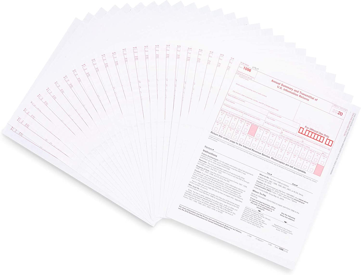 1096 Transmittal 2020 Tax Forms, 25 Pack of 1096 Summary Laser Forms, Compatible with QuickBooks and Accounting Software : Office Products