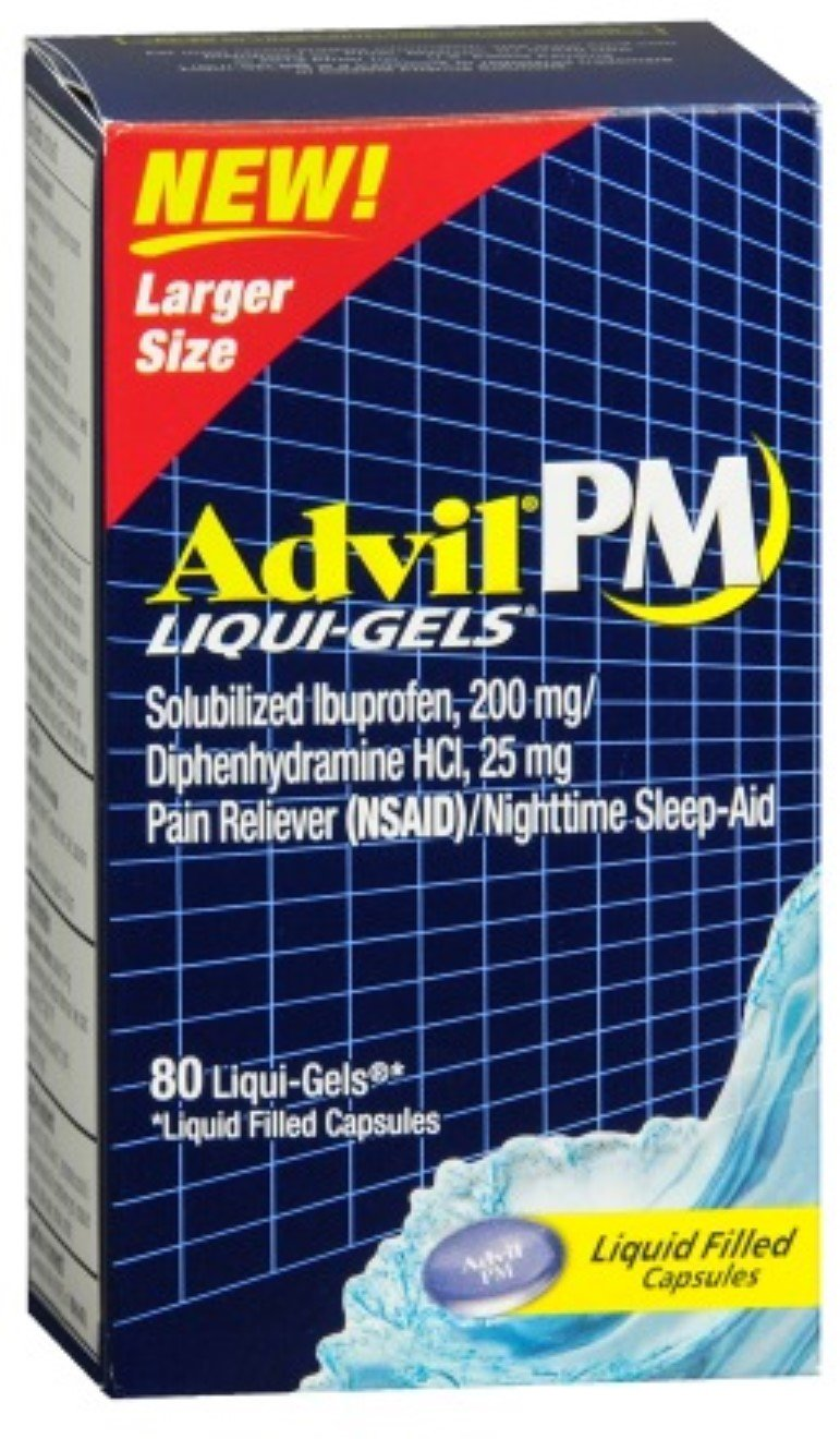 Advil PM Ibuprofen 200 mg Liqui-Gels 80 ea (Pack of 9) by Advil