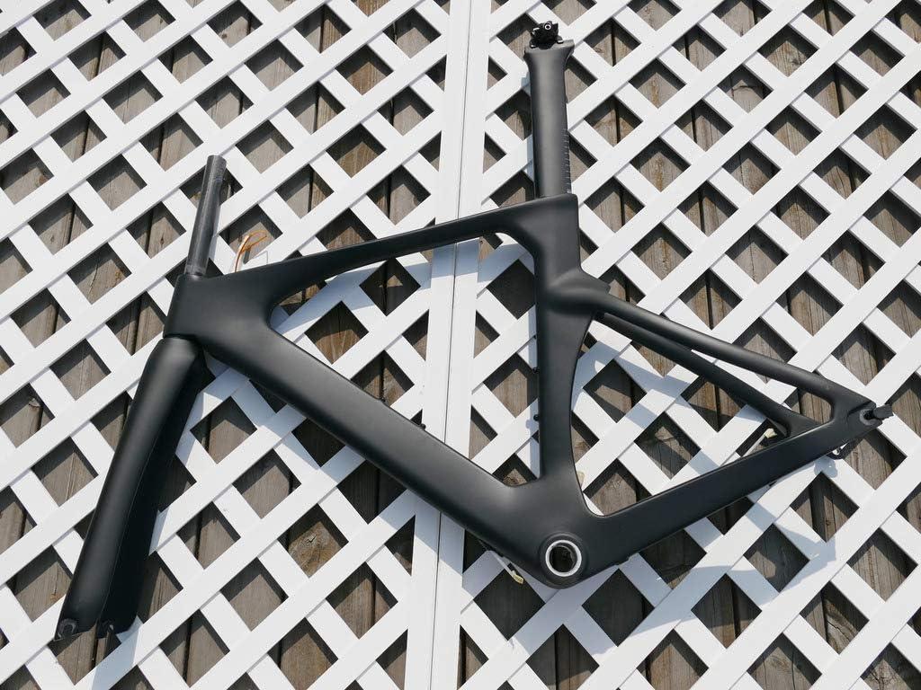 フルカーボンマットタイムトライアルトライアスロンバイクフレームセット:52CM TT自転車フレーム、フォーク、シートポスト、シートナット
