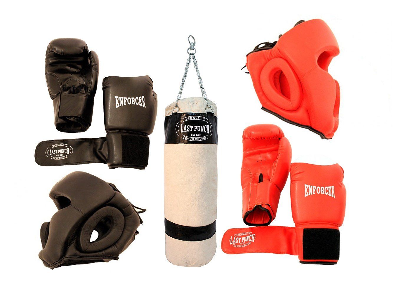 Boxing Package New 2 Pairs of Headgears 2 Pairs Pro Boxing Gloves & Punching Bag B01DKBA758