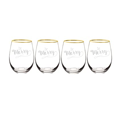 6ebda8cb21b Cathy's Concepts Be Merry Gold Rim Stemless Wine Glasses (Set of 4), 19.25  oz, Clear