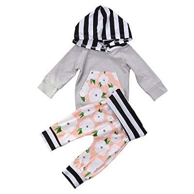 2Pcs Baby Girls Clothes Floral Hoodies Sweatshirt With Pocket Top +Striped Floral Long Pants