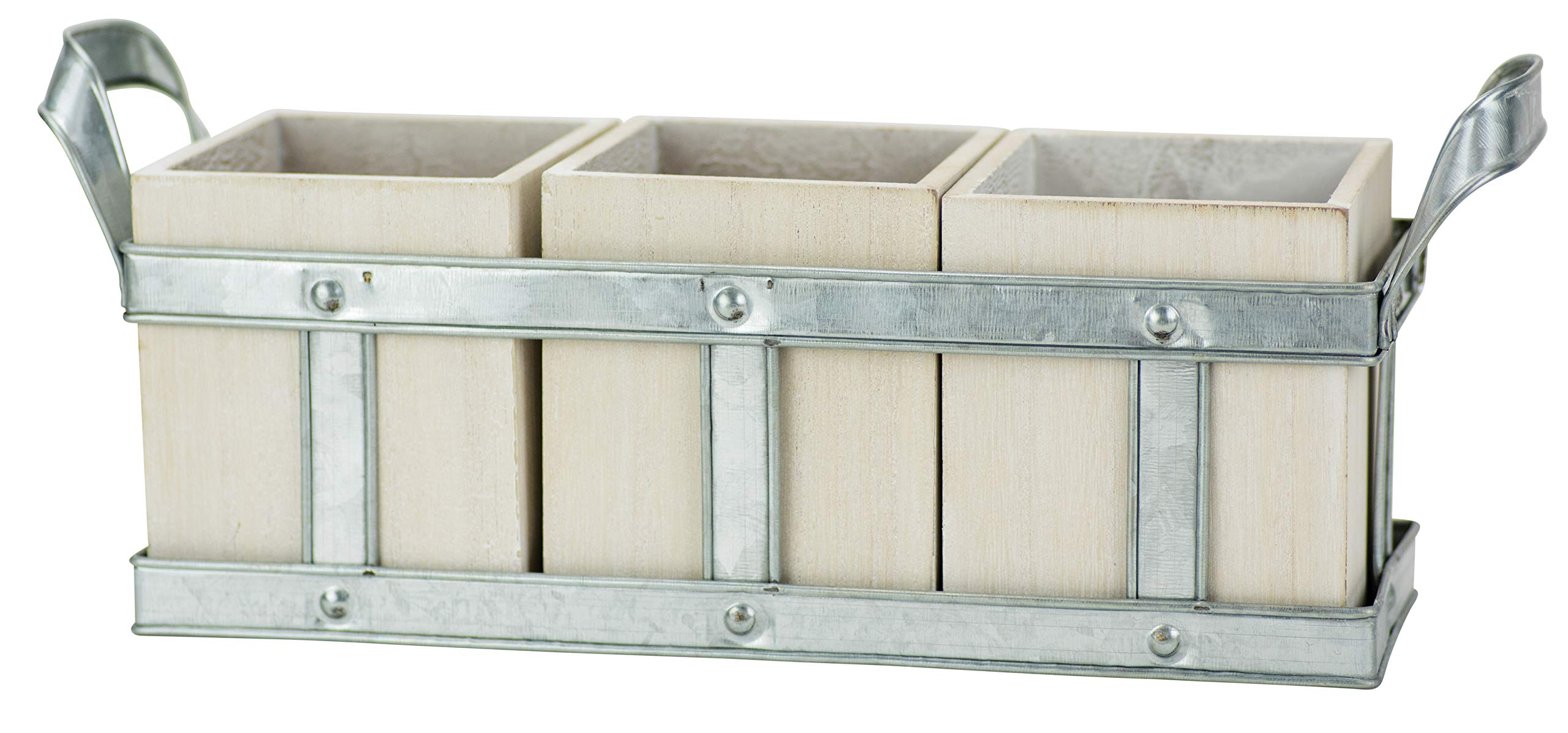 Boston Warehouse 78785 Galvanized Steel and White Washed Wood Flatware Caddy with Removable Utensil Crocks