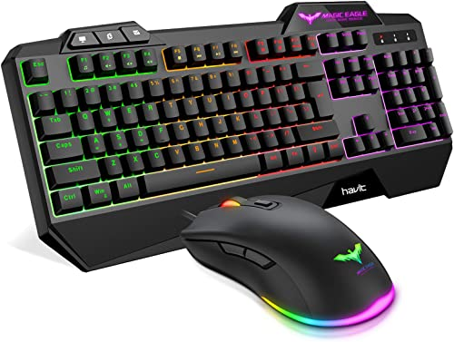Havit Wired Gaming Keyboard Mouse Combo LED Rainbow Backlit Gaming Keyboard RGB Gaming Mouse