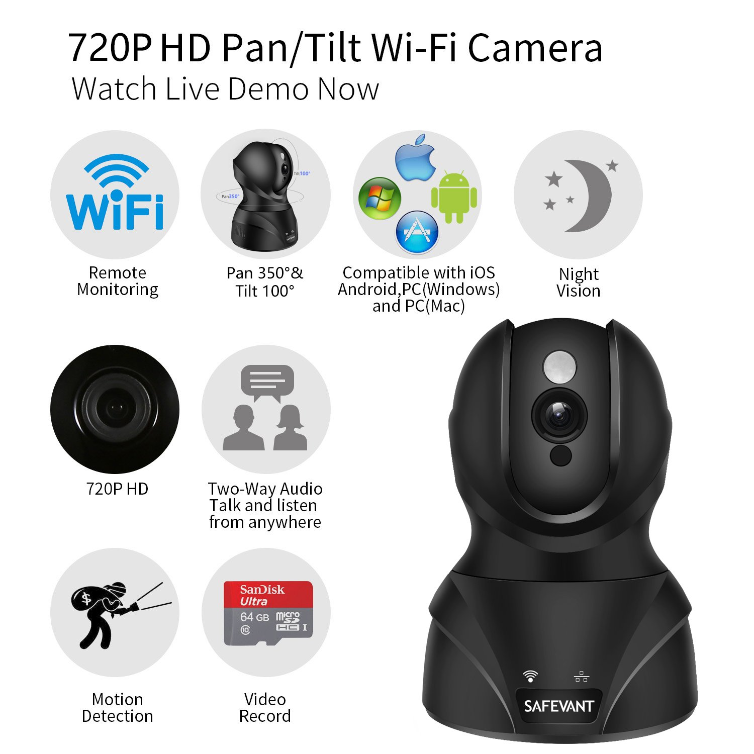 Wireless Security Camera, SAFEVANT HD WiFi IP Camera Surveillance Camera with Two Way Audio Night Vision for Pet Monitor, Nanny Camera, Baby Monitor and Puppy Cam by SAFEVANT (Image #2)