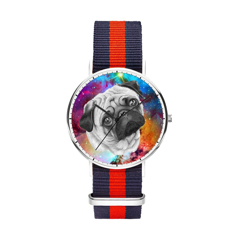 whiterbunny Galaxy NebulaパグメンズとレディースシルバーOxfordステンレススチールWatch with Striped Nylon Watch Band Men 40mm Galaxy Pug Dog B07D36KRN2  Galaxy Pug Dog Men 40mm