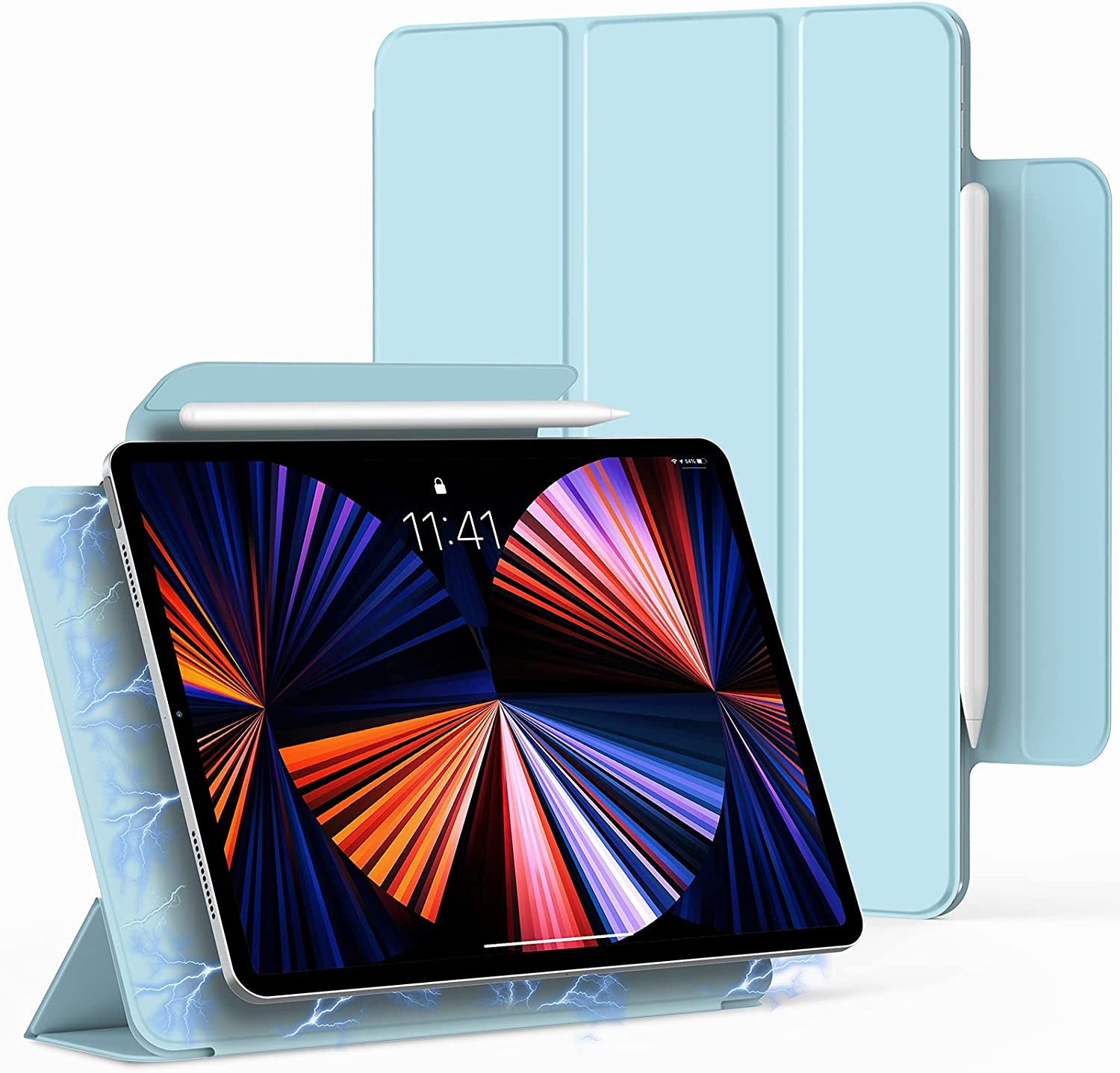 Bokeer Magnetic Case for iPad Pro 11 inch 2021 / iPad Air 4 / iPad Pro 11 2020 & 2018, Support Auto Sleep/Wake & Apple Pencil Charging, Lightweight Trifold Stand Magnetic Cover (Sky Blue)