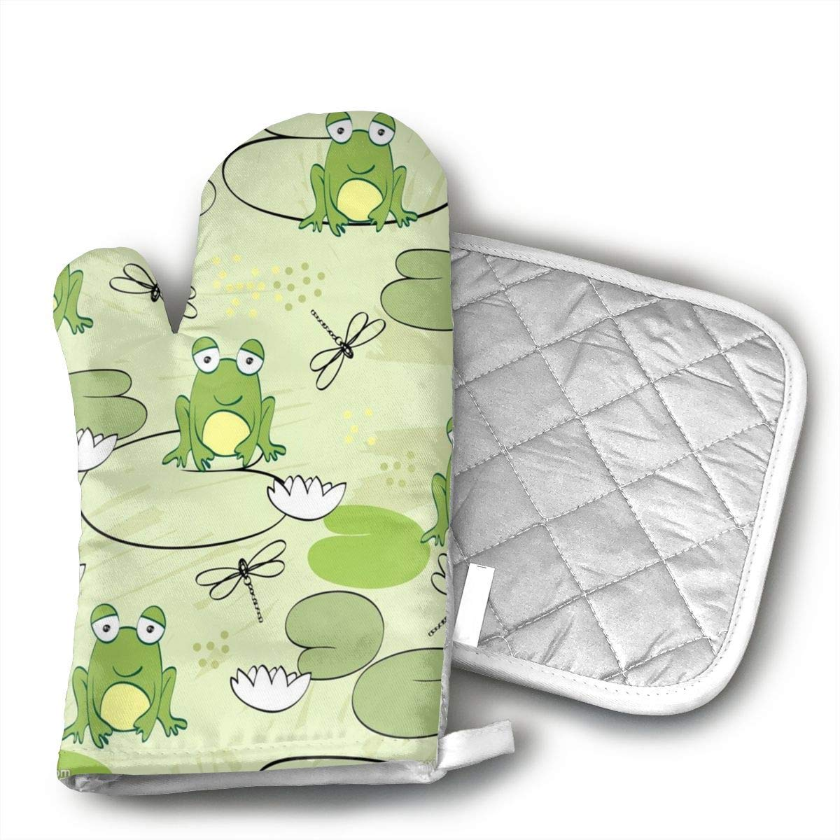 Wiqo9 Cartoon Green Frog Oven Mitts and Pot Holders Kitchen Mitten Cooking Gloves,Cooking, Baking, BBQ.