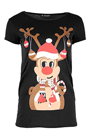 c0ff2e75e55 Oops Outlet Womens Santa Rudolph Reindeer Party T Shirt Ladies Christmas  Xmas Cap Sleeve Jersey Top  Amazon.co.uk  Clothing