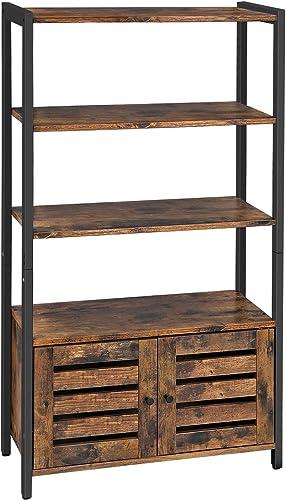 VASAGLE Industrial Storage Cabinet, Bookshelf, Bookcse, Bathroom Floor Cabinet with 3 Shelves and 2 Shutter Doors in Living Room, Study, Bedroom, Multifunctional, Rustic Brown