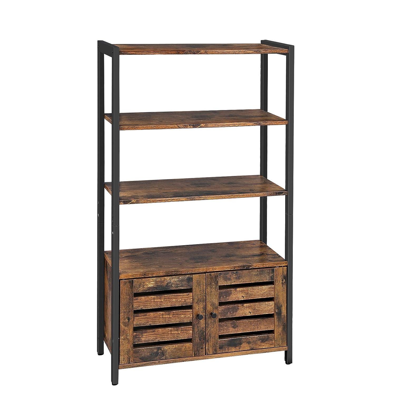 VASAGLE Industrial Storage Cabinet, Bookshelf, Bookcse, Bathroom Floor Cabinet with 3 Shelves and 2 Shutter Doors in Living Room, Study, Bedroom, Multifunctional, Rustic Brown ULSC75BX