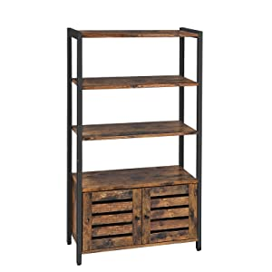 VASAGLE Industrial Storage Cabinet, Bookshelf, Bookcse, Bathroom Floor Cabinet with 3 Shelves and 2 Shutter Doors in Living Room, Study, Bedroom, Multifunctional, Rustic Brown ULSC75BX