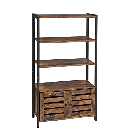 premium selection d6caa 07a34 VASAGLE Floor Standing Cabinet, Bookshelf, Industrial Storage Cabinet with  3 Shelves and 2 Shutter Doors, Bookcase in Living Room, Study, Office, ...
