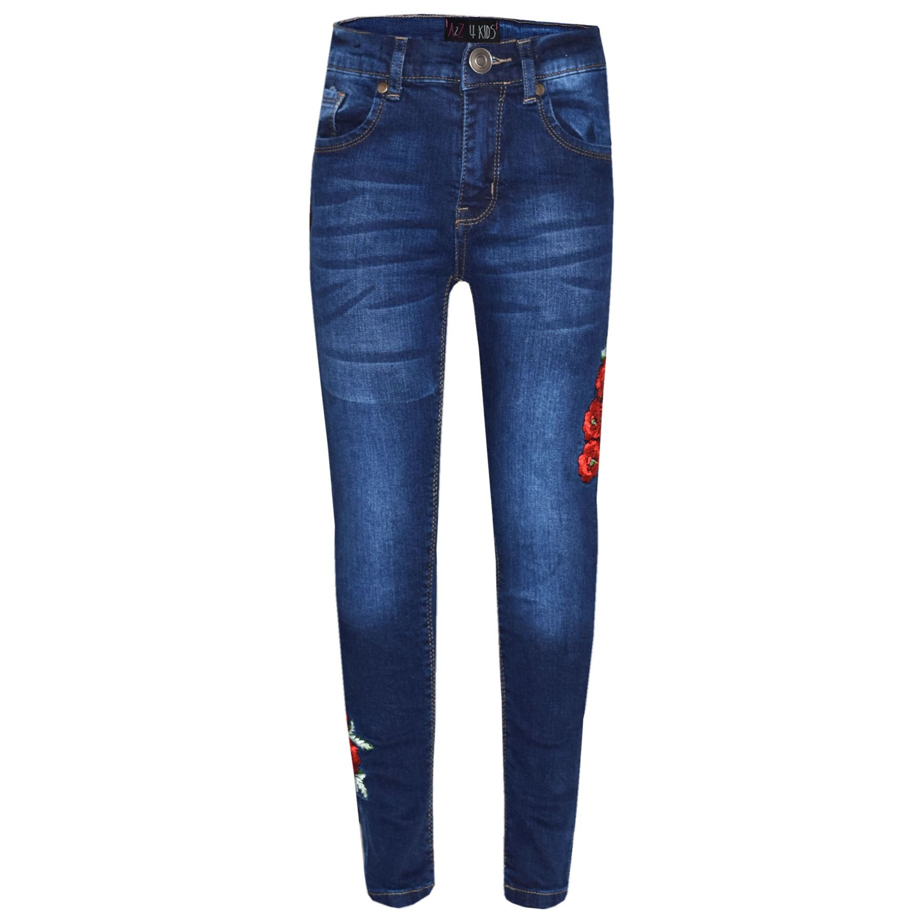 Girls Stretchy Jeans Kids Ripped Denim Pants Trousers Jeggings Age 5-13 Years