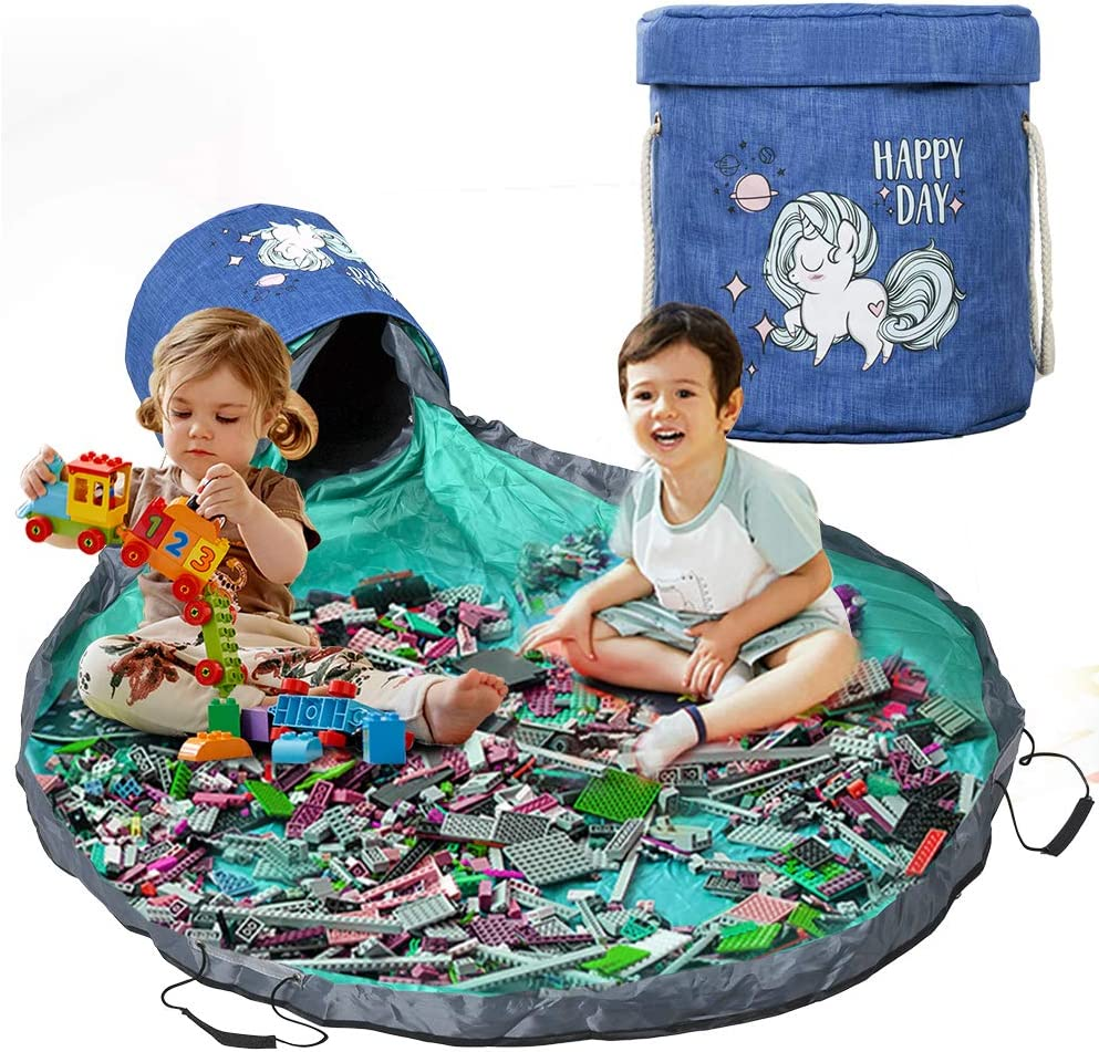 Play Mat and Toy Storage Organizer, Outdoor Toy Canvas Storage Basket, Large Drawstring Portable Collapsible Container Storage Bins for Kids Room Classroom Storage