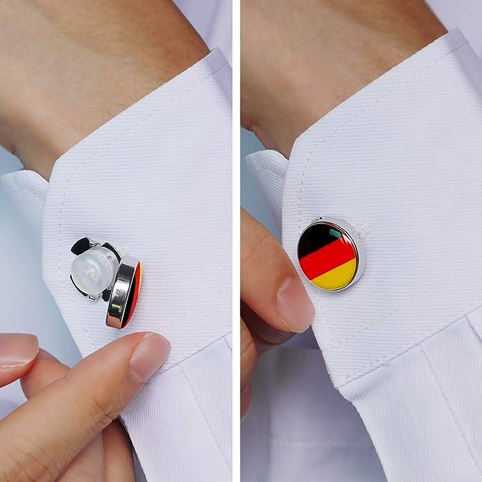 HONEY BEAR Cubre Botones Bandera Gemelos para la Camisa ordinaria de los Hombres de Negocios de Acero Inoxidable (Bandera Alemana de Alemania): Amazon.es: Joyería