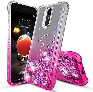LG Aristo 2 Case,LG Aristo 3/Rebel 4 LTE/Fortune 2/Tribute Dynasty/Empire/Aristo 2 Plus/Zone 4/Risio 3/Phoenix 4/K8+ Phone Case,TPU Glitter Liquid Quicksand Protective Phone Cover (Pink)