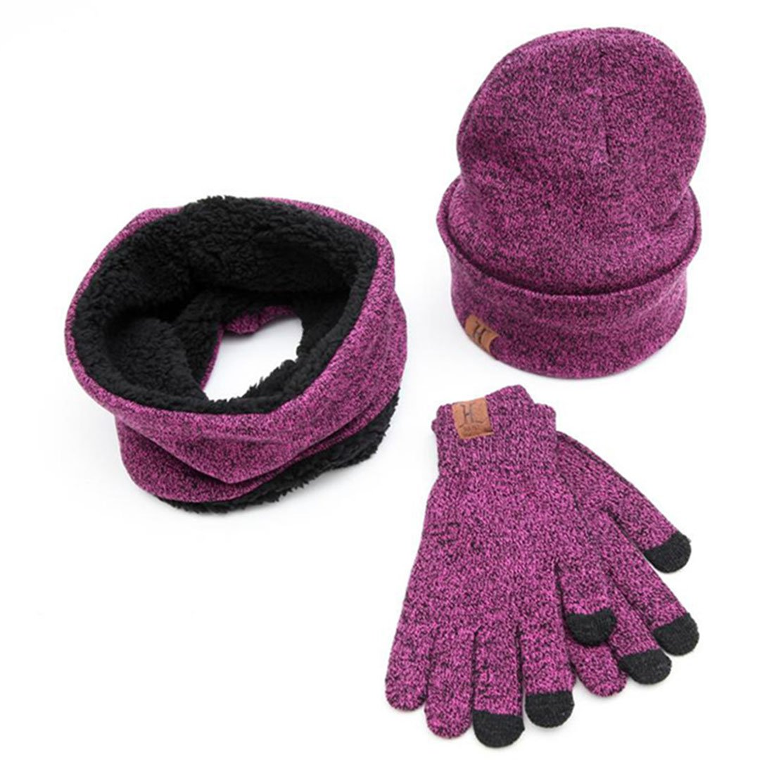 Pinji 3PCS Winter Knitted Warm Beanie Hat Scarf Touch Screen Gloves for Men and Women Rose Red