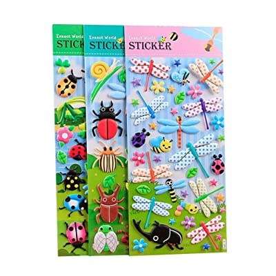 NUOBESTY 3 Sheets Kids Stickers Cartoon Insect Decals 3D Puffy Stickers for Notebook Scrapbooking DIY Craft: Toys & Games