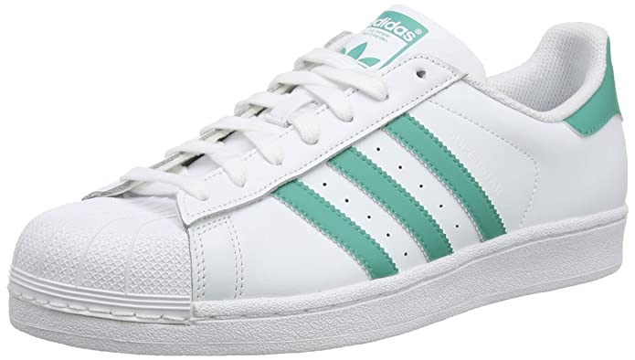 adidas Superstar Schuhe Herren Low-Top Weiß mit grünen (True Green) Streifen