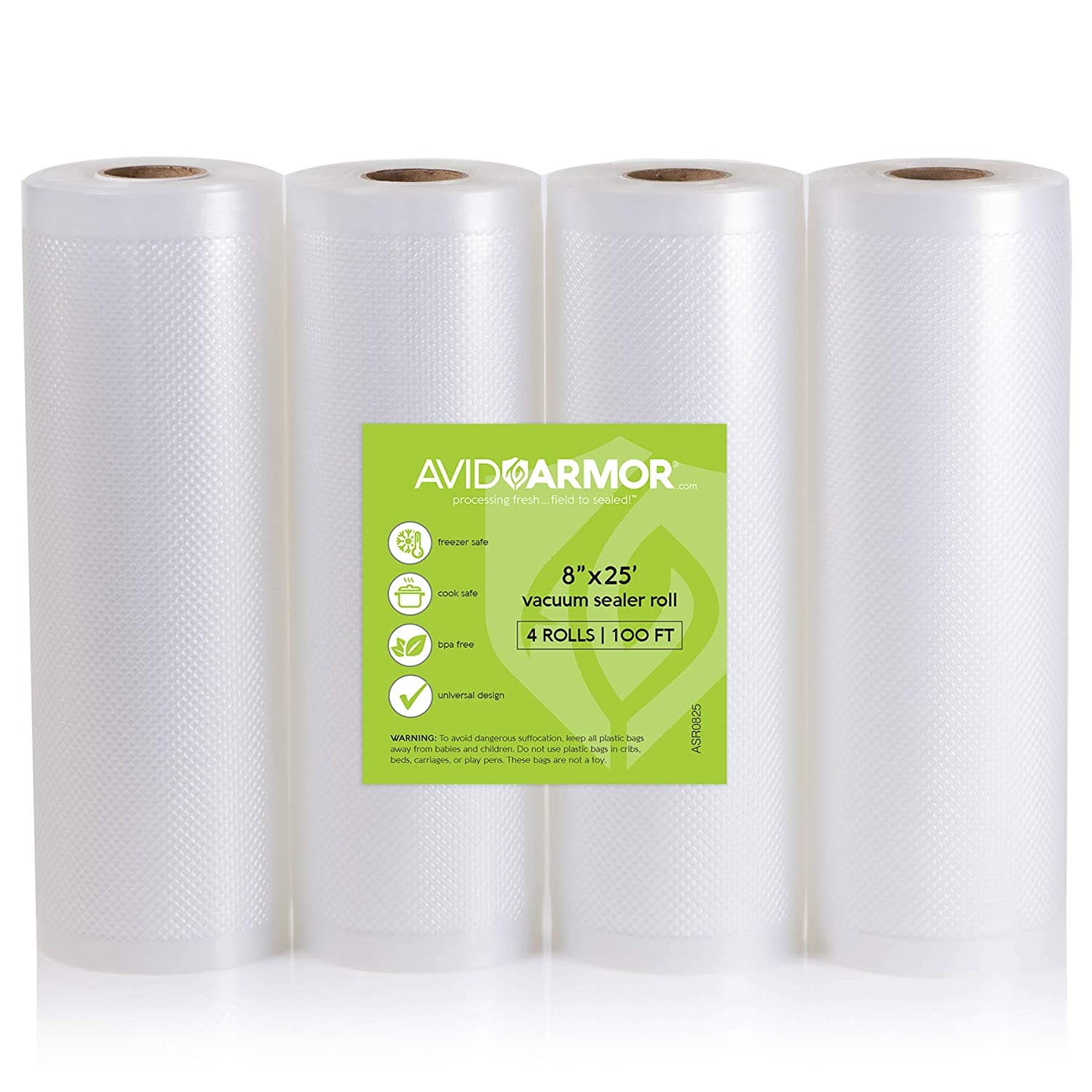 "8"" x 25' Vacuum Sealer Bags Rolls 4 Roll Pack for Food Saver, Seal a Meal Vac Sealers, Heavy Duty Commercial, Sous Vide, BPA Free FITS INSIDE ROLL STORAGE Cut Bag to Size 100 Total Feet Avid Armor"