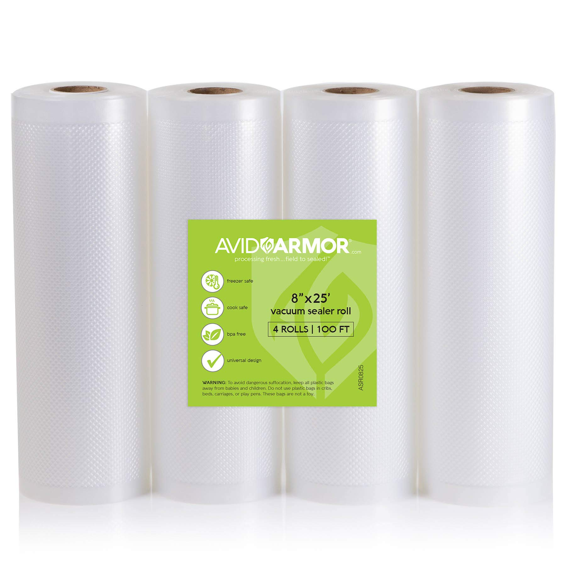 8'' x 25' Vacuum Sealer Bags Rolls 4 Roll Pack for Food Saver, Seal a Meal Vac Sealers, Heavy Duty Commercial, Sous Vide, BPA Free FITS INSIDE ROLL STORAGE Cut Bag to Size 100 Total Feet Avid Armor