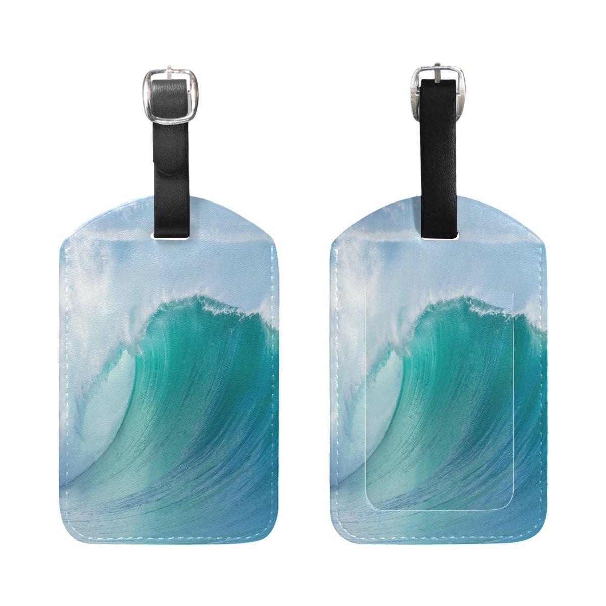 1Pcs Saobao Travel Luggage Tag Ocean Wave Hollow Crashing Curling Breaking Sea PU Leather Baggage Suitcase Travel ID Bag Tag