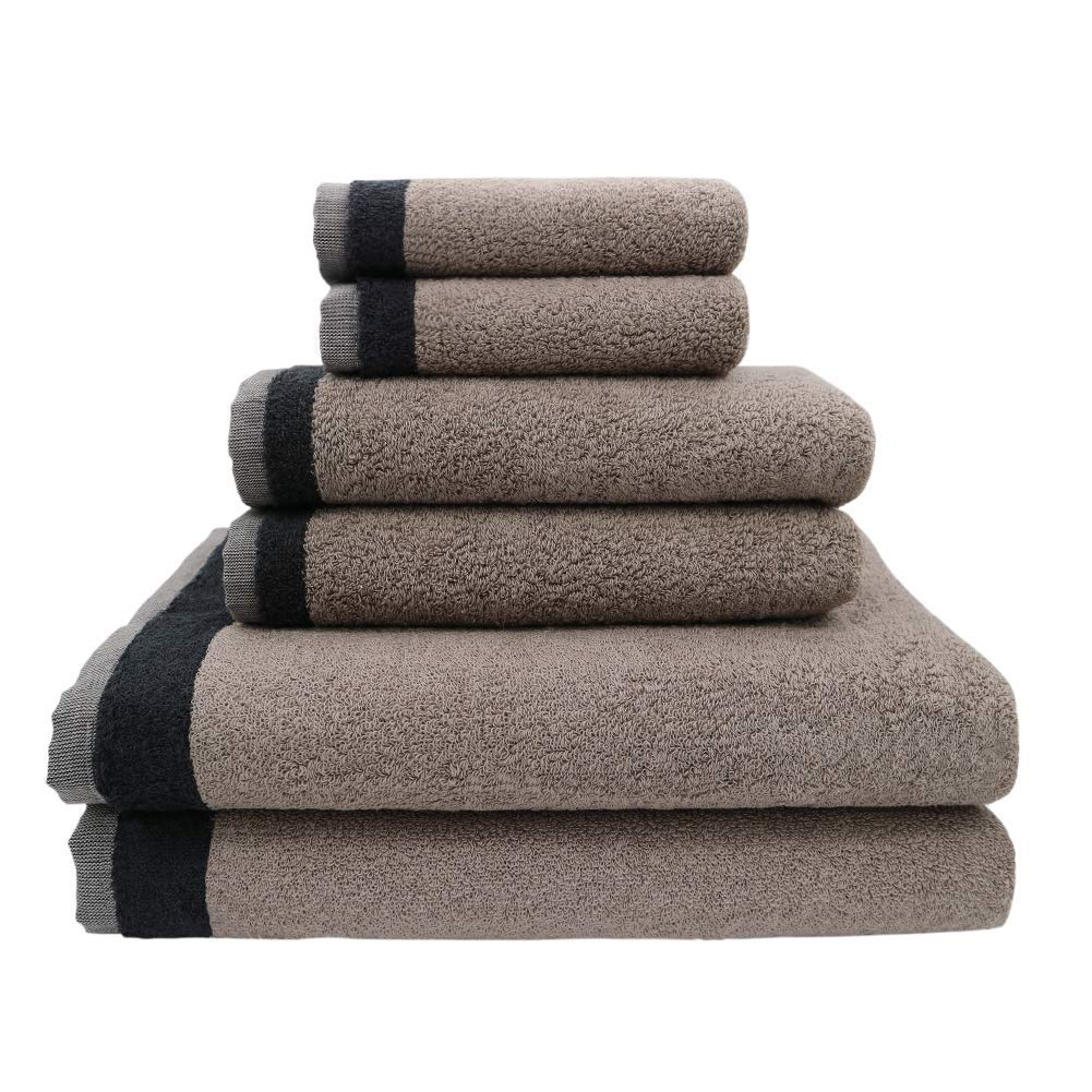 HERISEN Premium 6 Piece Home Bath Towel Set, 2 Bath Towels, 2 Hand Towels and 2 Washcloths, Luxury Cotton with Modern Design, Super Soft and Highly Absorbent Collection (Gray)