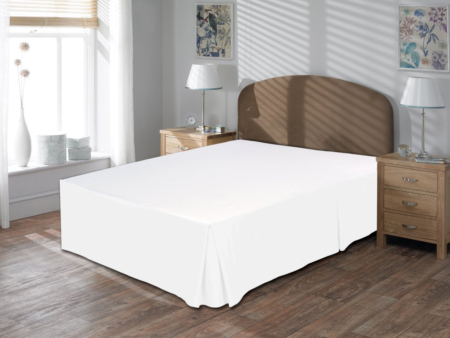 Amazon Luxurious Hotel Collection 800TC 3pc Bedskirt 17'' Drop Length 100% Egyptian Cotton Queen Size White Solid