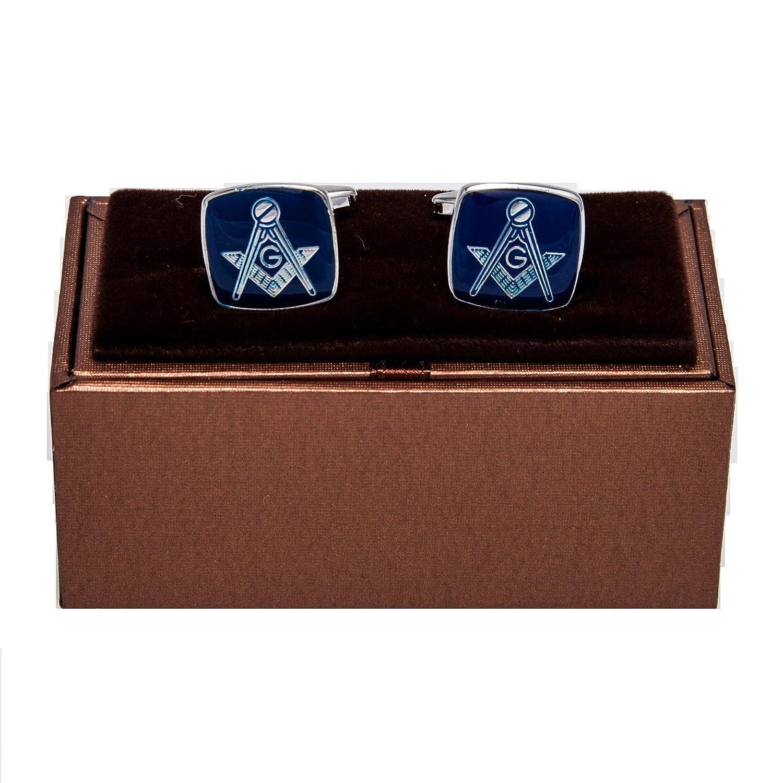 MRCUFF Mason Blue Square Pair of Cufflinks in a Presentation Gift Box & Polishing Cloth