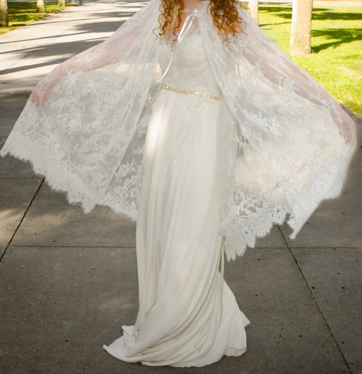 YuRong Long Bridal Shawls Wrap Lace Applique Scarf Capes Lace Cover Up C04 (Ivory) by YuRong (Image #5)