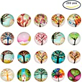 PH PandaHall Pandahall 200PCS 12mm Tree of Life Printed Half Round Dome Glass Cabochons for Jewelry Making