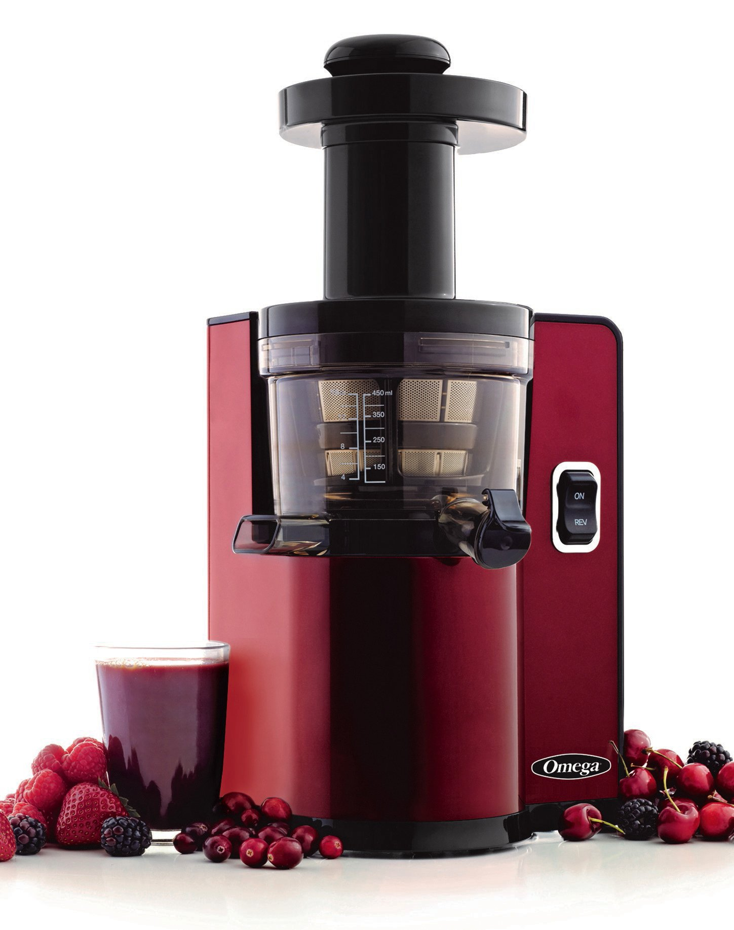 Omega VSJ843QR Vertical Slow Masticating Juicer Makes Continuous Fresh Fruit and Vegetable Juice at 43 Revolutions per Minute Features Compact Design Automatic Pulp Ejection, 150-Watt, Red by Omega
