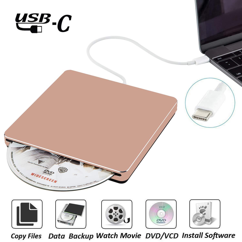 External DVD CD Drive NOLYTH USB C DVD CD +/-RW Superdrive Player Burner Writer Drive for Apple/Mac/Macbook Pro Air/Laptop/Windows10(Rose Gold) by NOLYTH