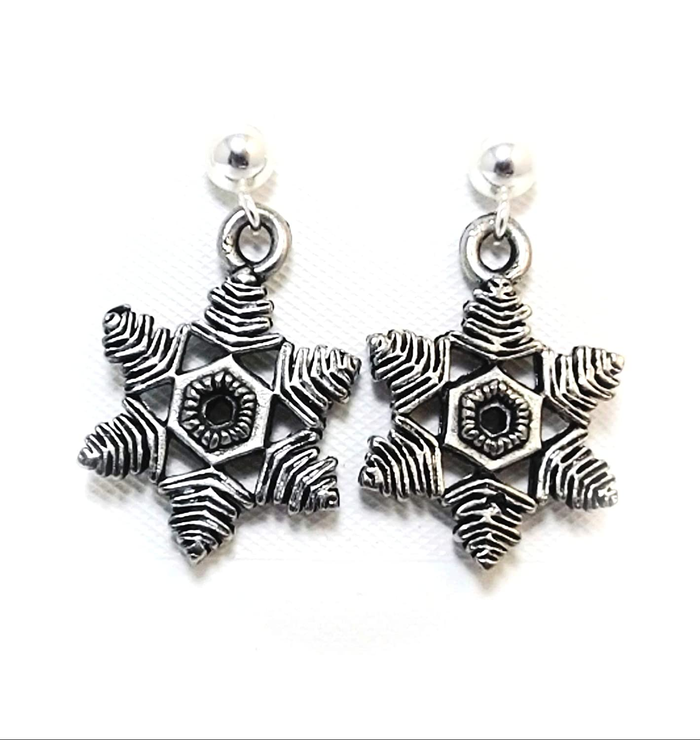 Pewter Snowflake Charms on Hypoallergenic Ball Post Stud Earrings