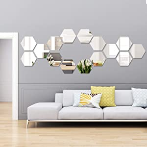 15 Pieces Removable Acrylic Mirror Setting Wall Sticker Decal for Home Living Room Bedroom Decor (Large Hexagon, 15 Pieces)