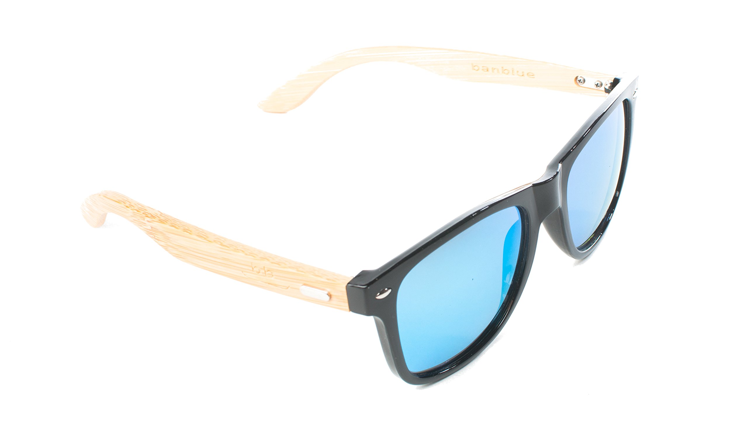 banblue Bamboo Sunglasses (Black, Teal Mirrored)