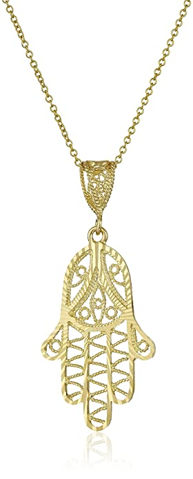Amazon 14k yellow gold diamond cut hamsa pendant necklace 18 14k yellow gold diamond cut hamsa pendant necklace 18quot aloadofball Gallery